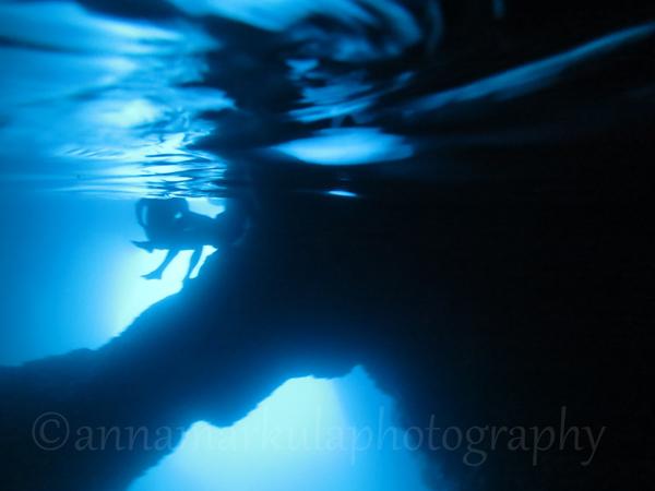 people sitting underwater Blue Hole Croatia