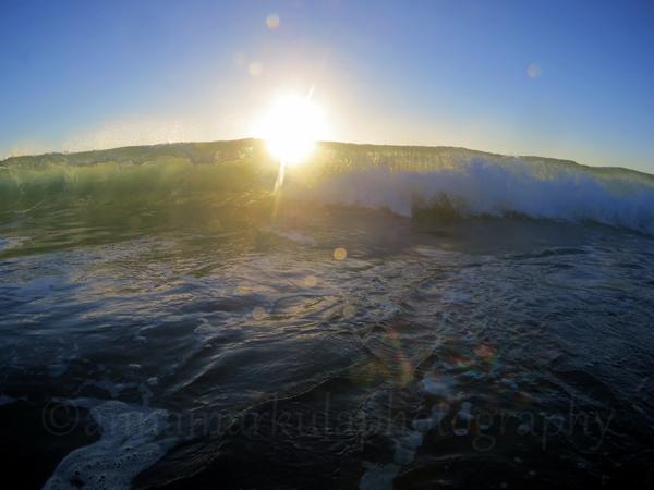 wave break ocean sunrise rainbow