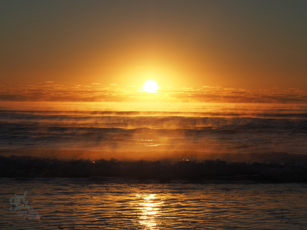 sunrise sea mist gold light Mudjimba